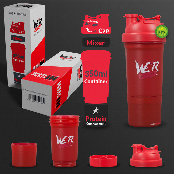 red 350ml shaker bottle from WeRSports