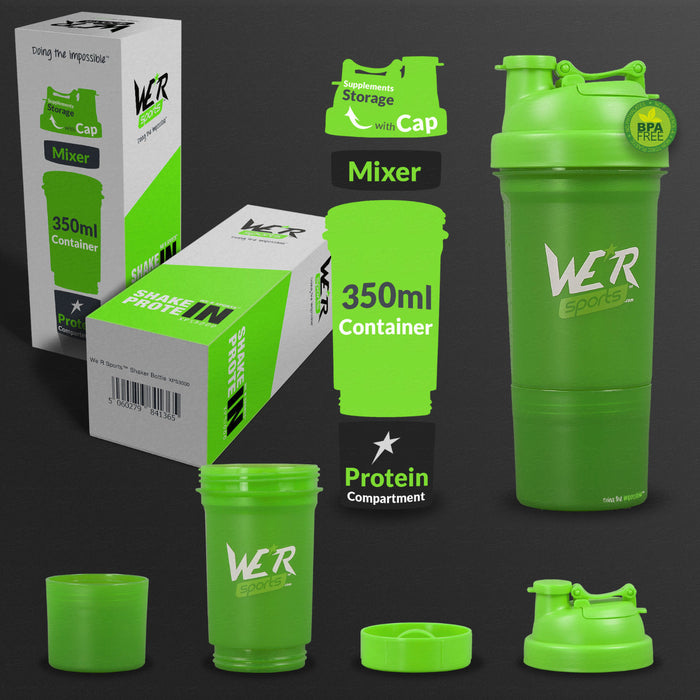 green 350ml shaker bottle from WeRSports