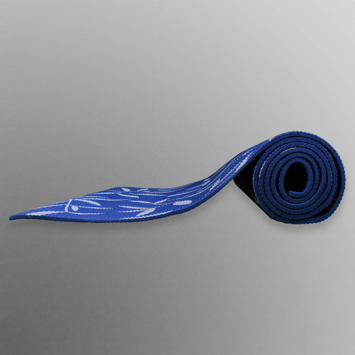blue rolled up yoga mat