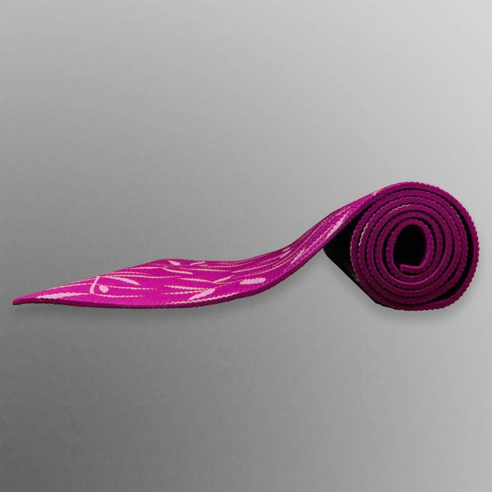 purple rolled up yoga mat