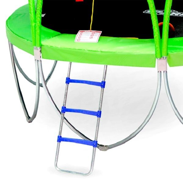 Fitness trampoline safety net ladder