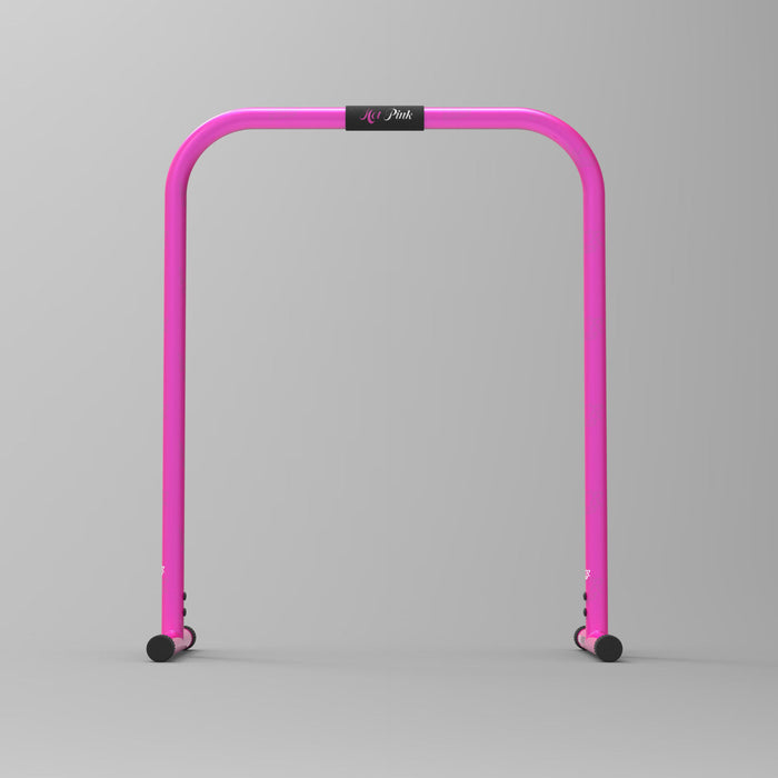 front view purple parallel bars