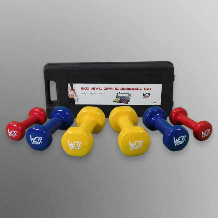 Complete ladies dumbbell set with different colours