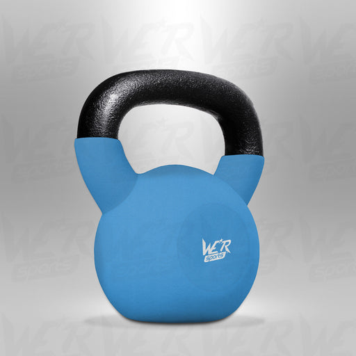 SnatchFlex Blue Rubber Coated Cast Iron Kettlebell