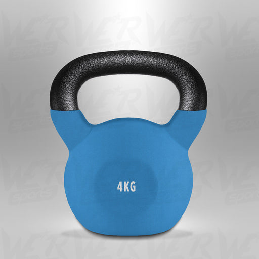 SnatchFlex Blue 4kg Rubber Coated Cast Iron Kettlebell