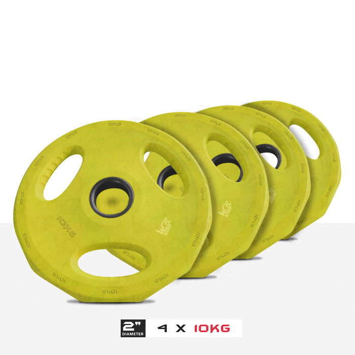 "4 10kg 2"" VibeFlex Tri Grip Weight Plates"