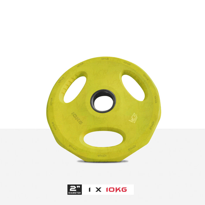 "1 10kg 2"" VibeFlex Tri Grip Weight Plates"