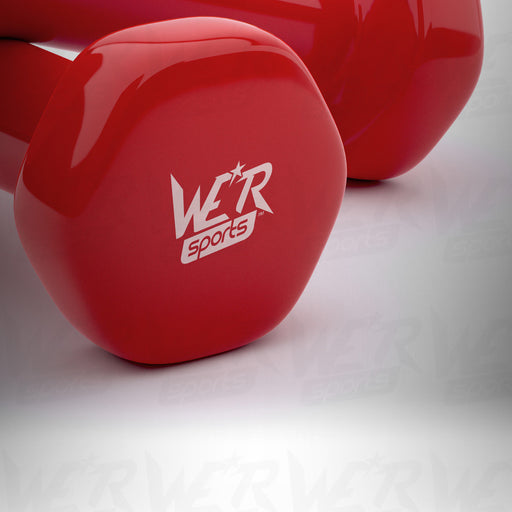 AeroFlex Ladies Dumbbell Set in red close up