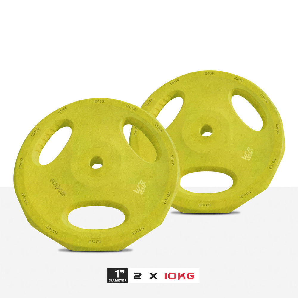 "2 10kg 1"" VibeFlex Tri Grip Weight Plates"