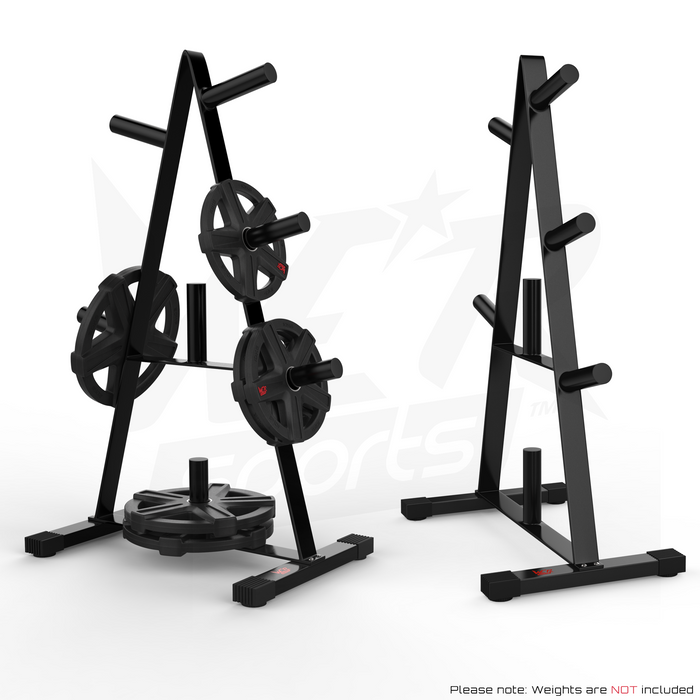 Weight rack stand with and without weights