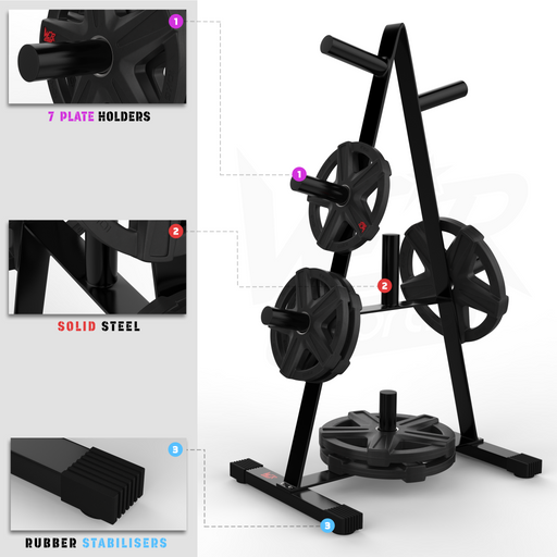 Olympic weight plate tree rack stand storage features