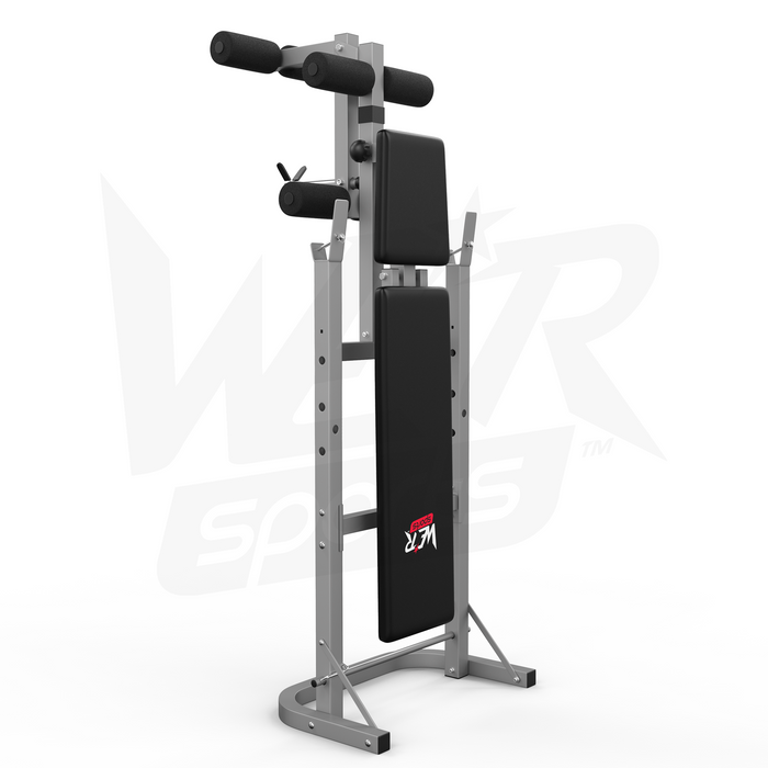 Folding weight bench comes in silver and black from WeRSports