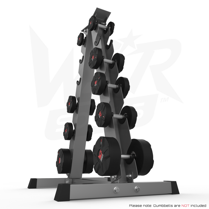 A Frame Dumbell Rack with weights left angle