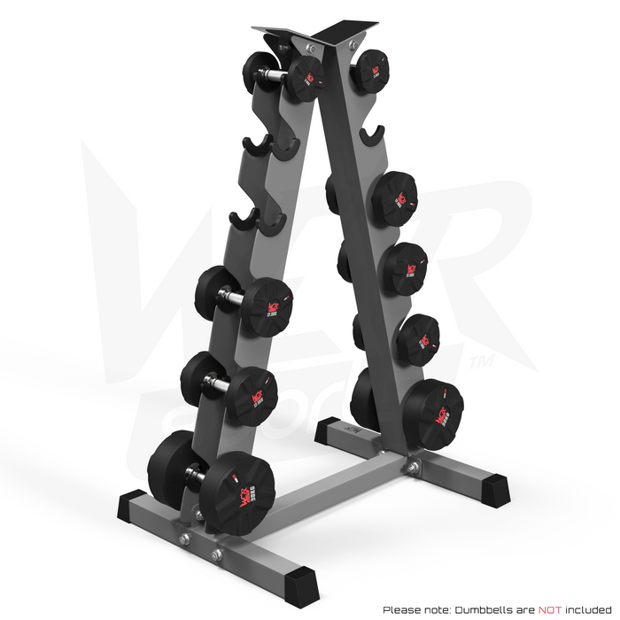 A Frame Dumbell Rack from WeRSports with weights right angle