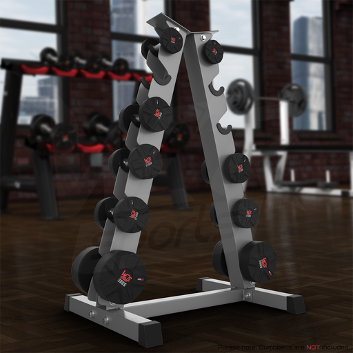 A Frame Dumbell Rack from WeRSports with dark background