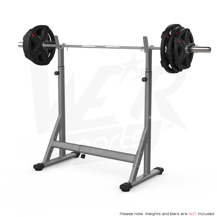 Silver and black squat barbell rack from WeRSports