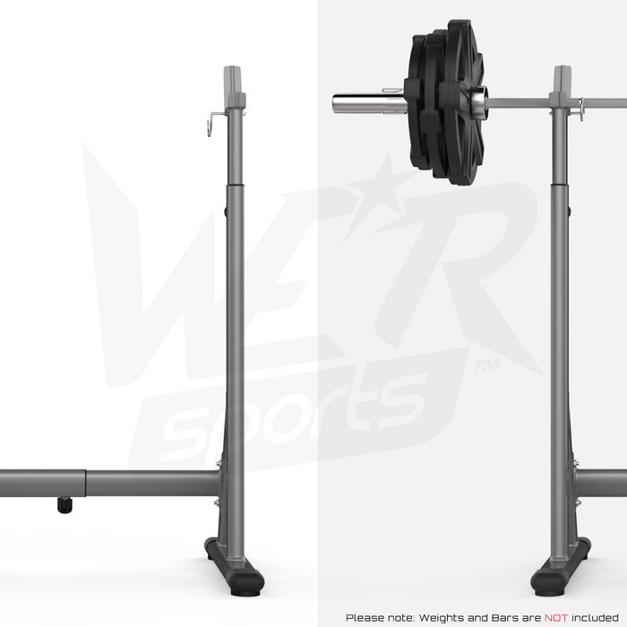 Barbell rack with and without a barbell