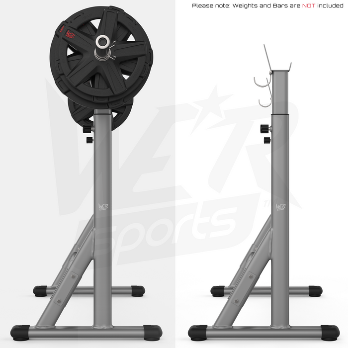 side view of barbell rack with and without barbell weights
