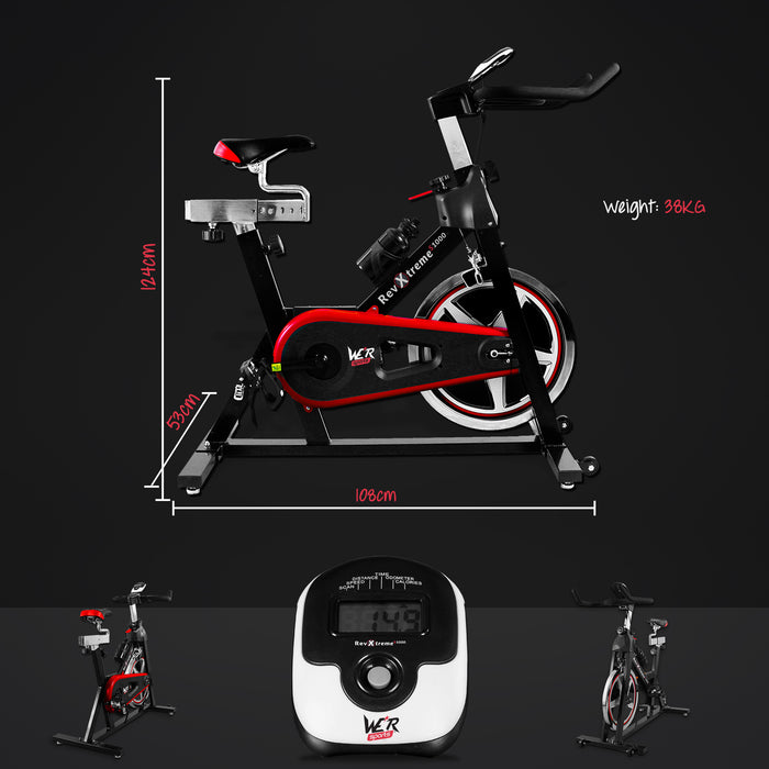 red exercise bike monitor