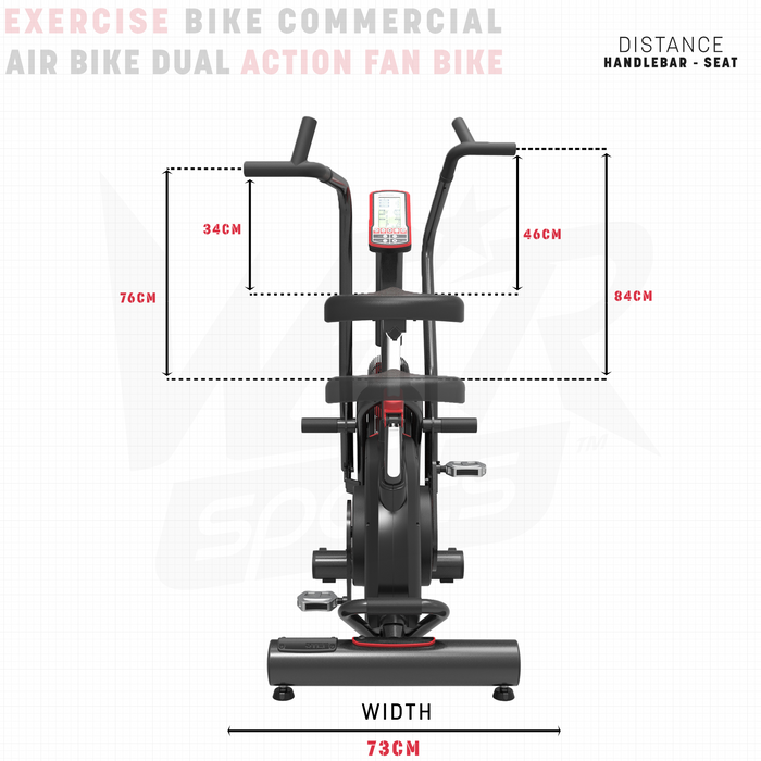 exercise bike height and width dimensions