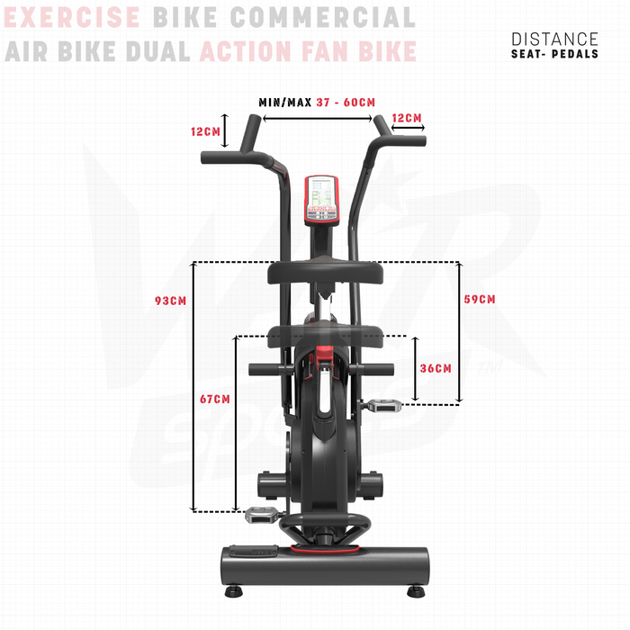 Exercise bike size dimensions