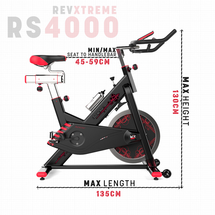 RevXtreme VenomX exercise bike maximum length and height from WeRSports