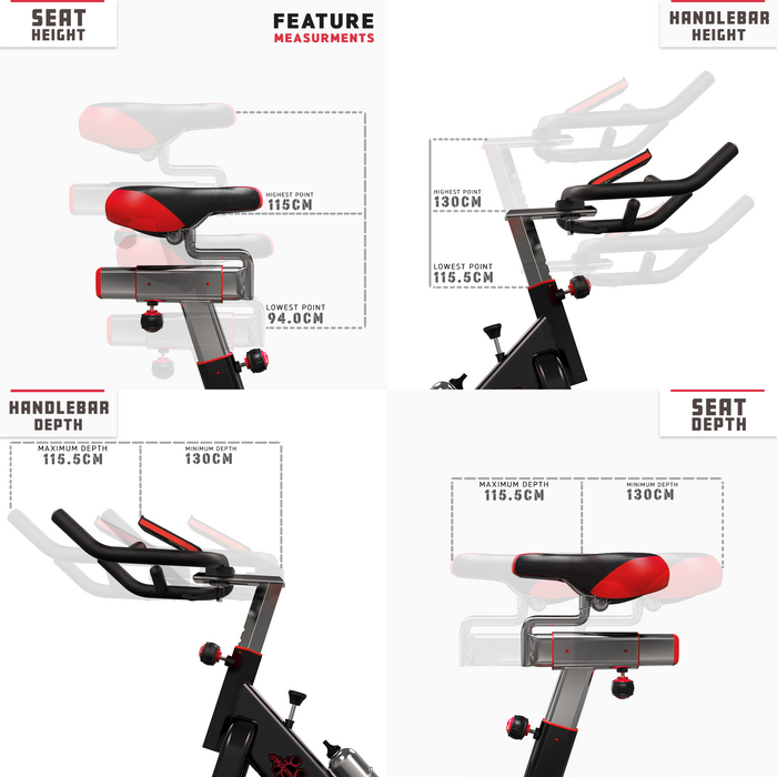 RevXtreme VenomX Indoor Cardio Spin Bike feature measurements