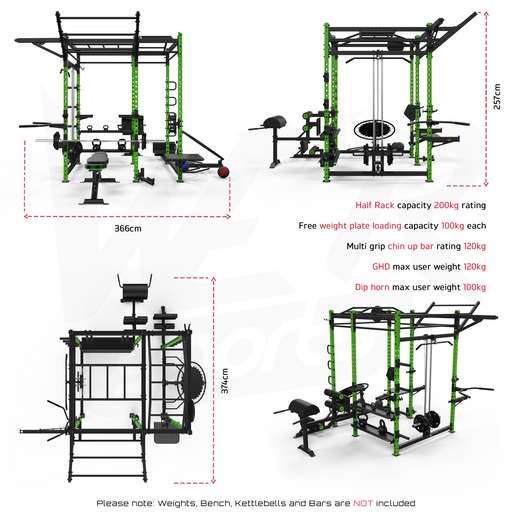 Big power cage rack size dimensions