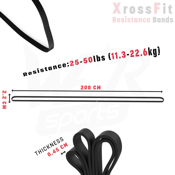black resistance bands size dimensions