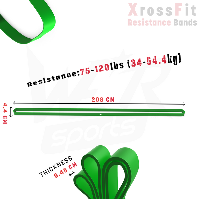 green resistance bands size dimensions