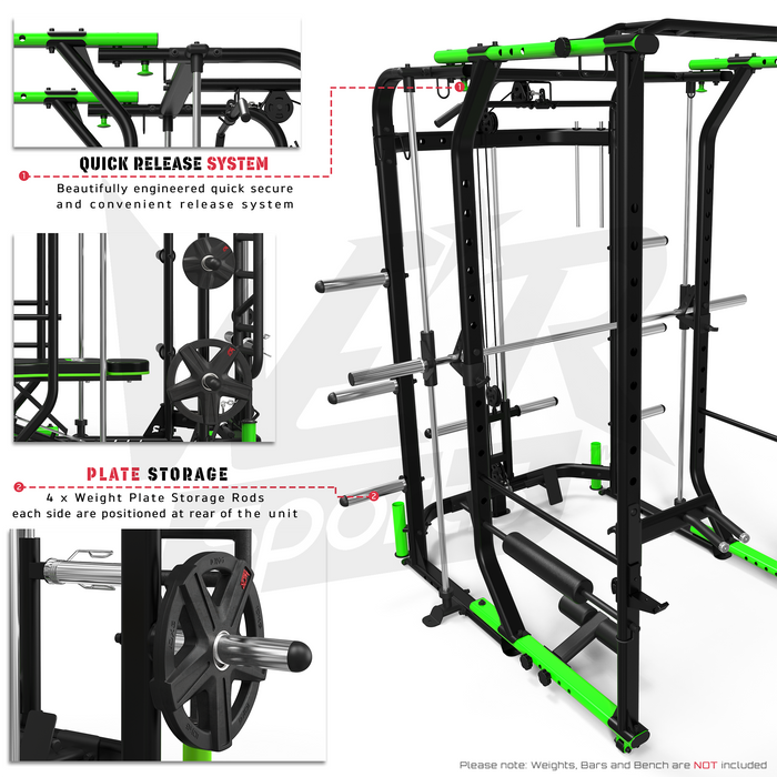 MaxiLift Foldable Crossfit TM Power Rack weight plate storage