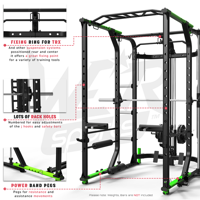MaxiLift Foldable Crossfit TM Power Rack adjustable parts