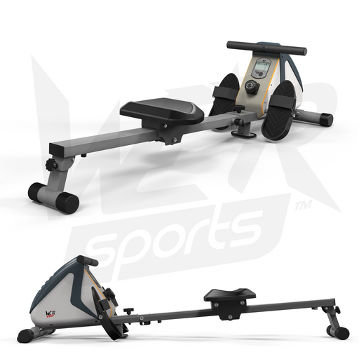 White and silver rowing machine