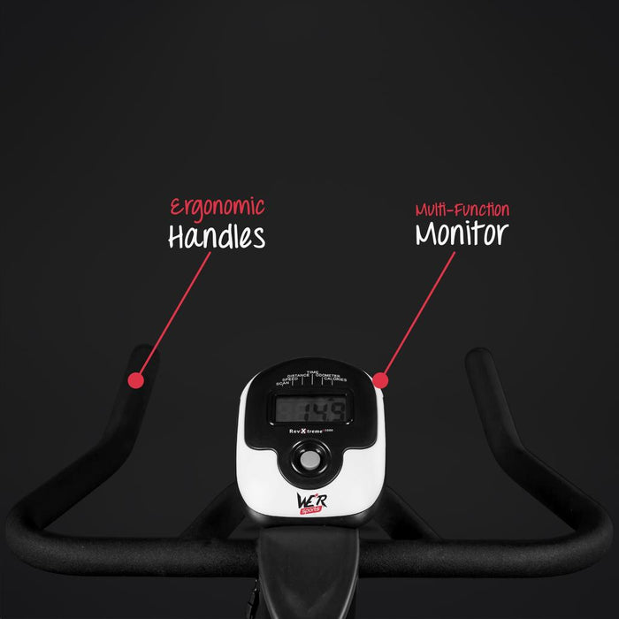 Exercise bike with ergonomic handles and multi-function monitor