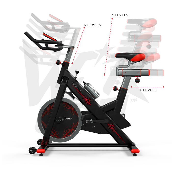 Multiple level RevXtreme VenomX Indoor Cardio Spin Bike