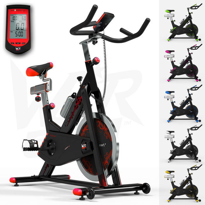 RevXtreme VenomX Indoor Cardio Spin Exercise Bike with a monitor