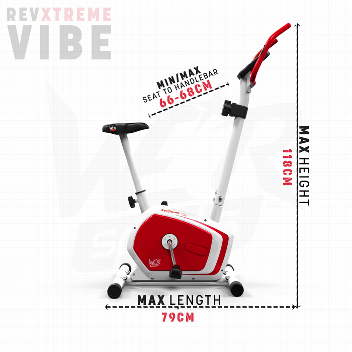 RevXtreme Vibe Magnetic Exercise Bike Indoor Cycle size dimension