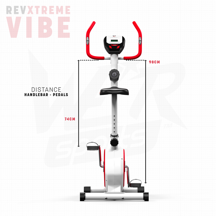 RevXtreme Vibe Magnetic Exercise Bike Indoor Cycle handle to pedal distance