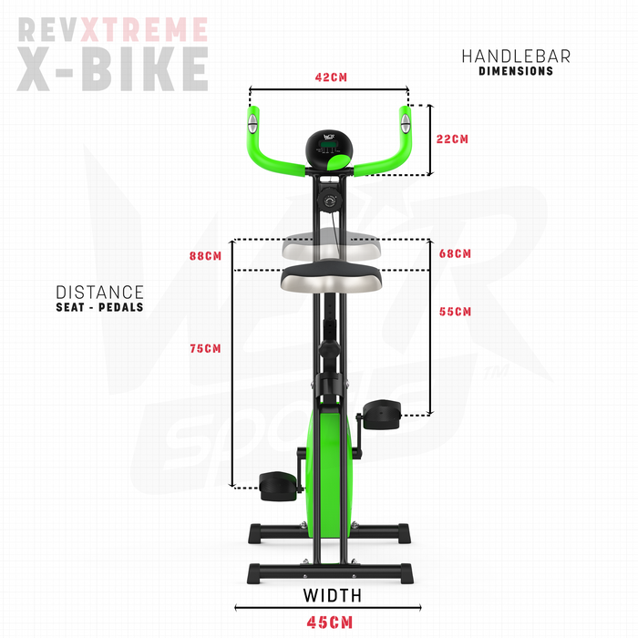 RevXtreme X-Bike distance seat to pedals dimension