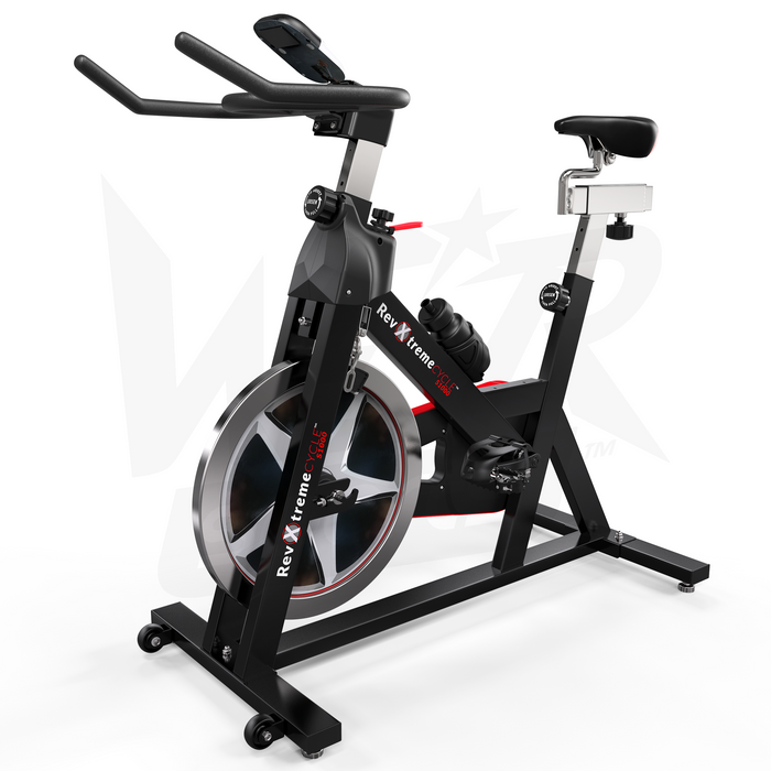 Black and red indoor cycle studio exercise bike from WeRSports