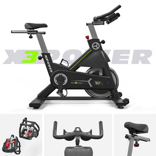 RevXtreme X3Power Indoor Spin Bike handle bar, pedals and seat