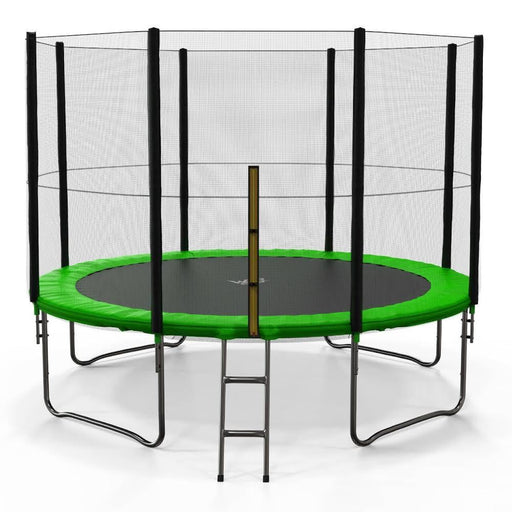 BounceXtreme Garden Trampoline with Ladder and RainCover in green