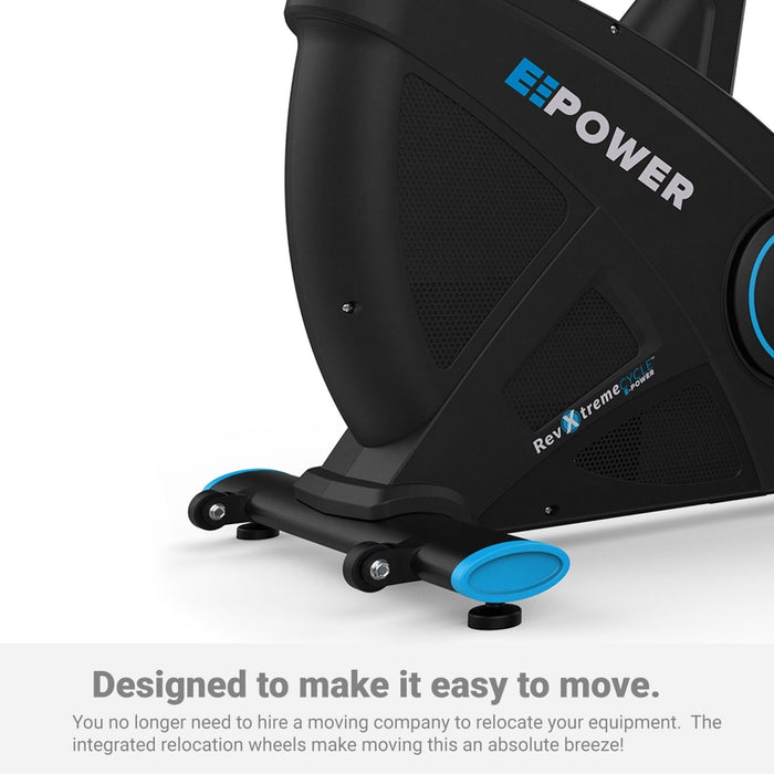 E-Power Cardio Reclining Exercise Bike transport wheels