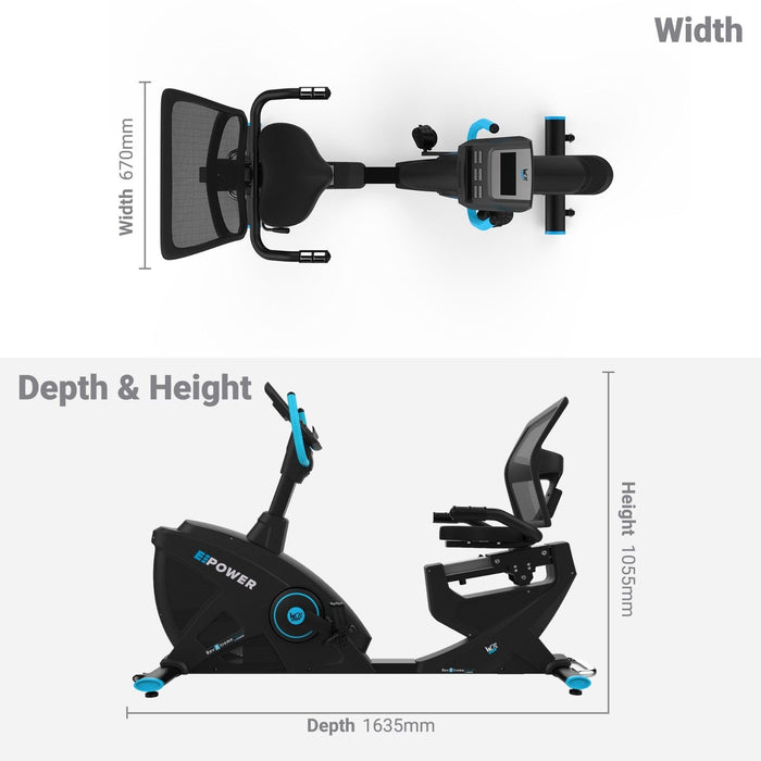 E-Power Cardio Reclining Exercise Bike dimensions
