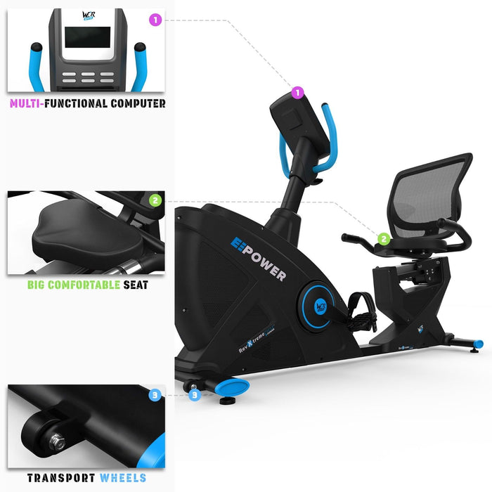 E-Power Cardio Reclining Exercise Bike different views