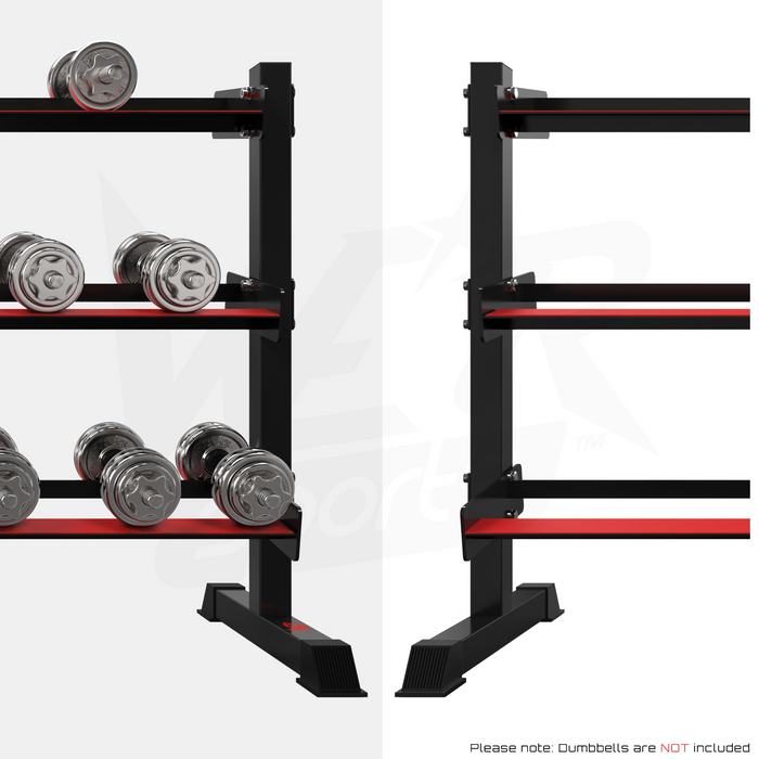Dumbbell rack with and without weights