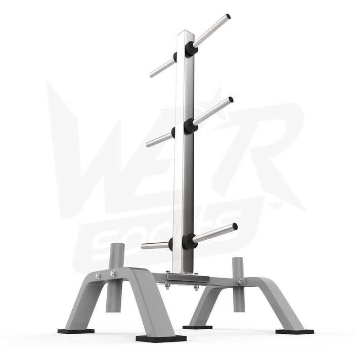 Silver weight plate rack from WeRSports