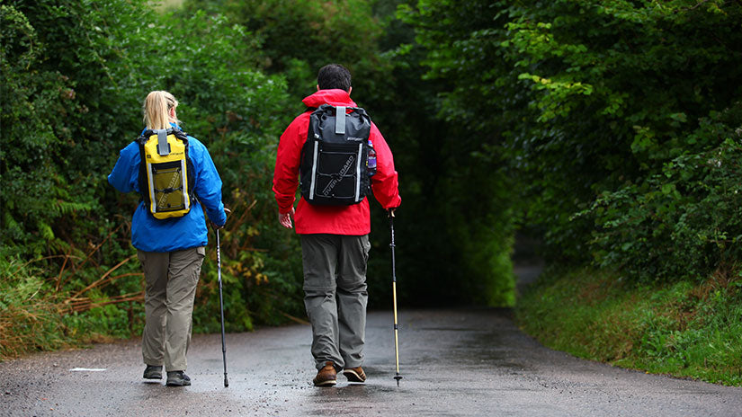 OverBoard Blog - 23 Tips for Backpacking in the Rain - Walking Poles