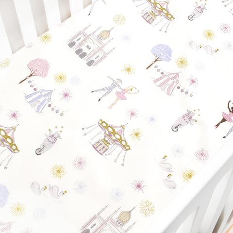 Adventures in Wonderland Crib Sheet - Rose