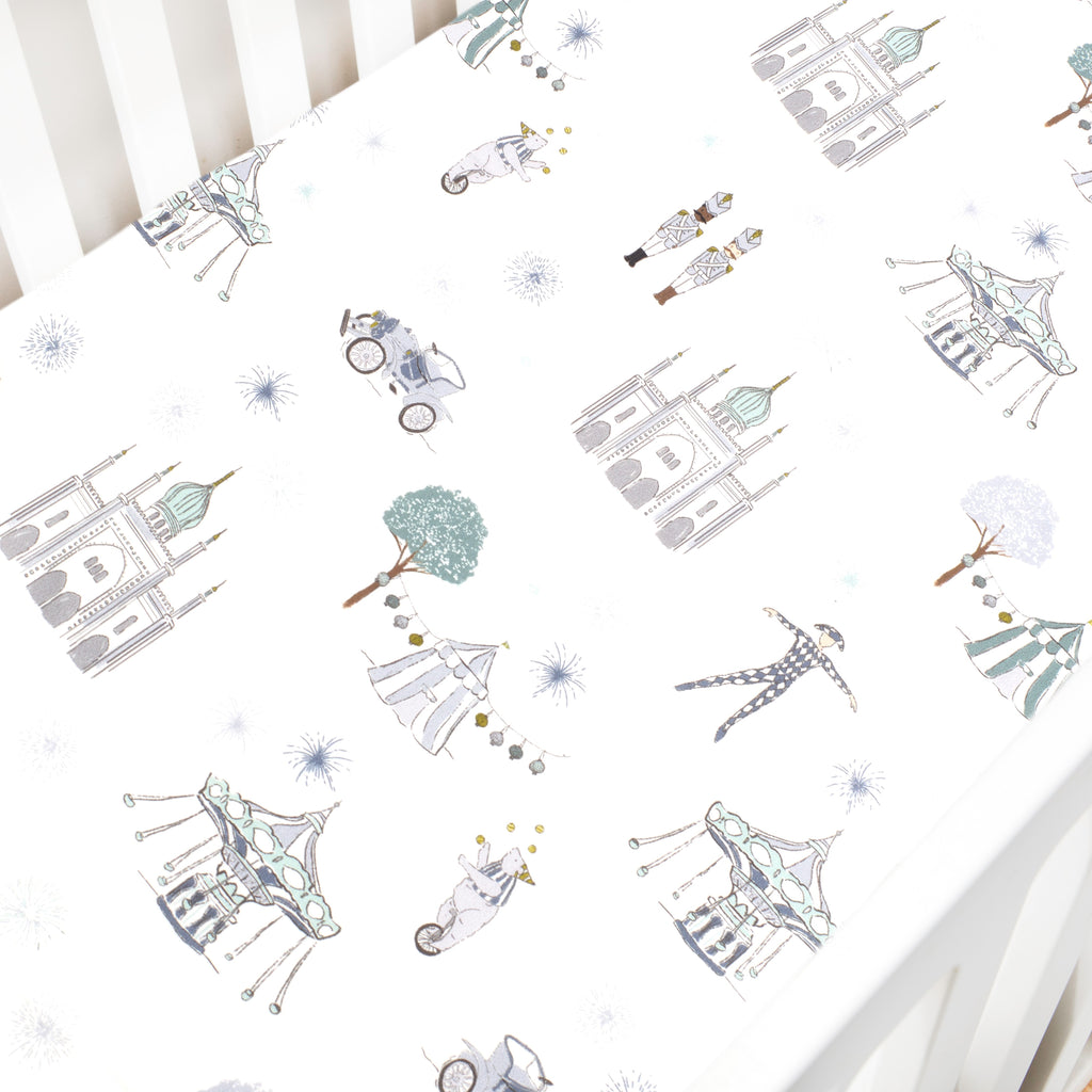 Adventures in Wonderland Crib Sheet - Aqua